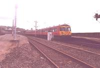 303-051?, I think, departs Wemyss Bay for Glasgow in 1985. At this time three platforms could be used.<br><br>[John Gray&nbsp;//]