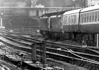Doing what they were built to do - a pair of class 50s with the Down <I>Royal Scot</I> arriving at Carlisle in 1973, one of several accelerated Anglo - Scottish services introduced prior to completion of the Weaver Junction - Glasgow electrification project.<br><br>[John Furnevel&nbsp;22/06/1973]