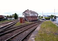 The view from Bedlington station on 25 May 2004 showing the line splitting at Bedlington North Junction. The Morpeth line runs to the left of the box with the route to North Blyth and Ashington to the right. <br><br>[John Furnevel&nbsp;25/05/2004]