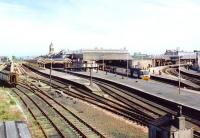 View north east over Perth station on 16 July 1992 with the up <I>Highland Chieftain</I> recently arrived at platform 4.<br><br>[John Furnevel&nbsp;16/07/1992]