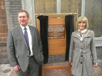 Duncan Sooman of Network Rail with Provost Winifred Sloan at Ayr on 25 April 2012 during the unveiling of the commemorative plaque to engineer John Miller [see adjacent news item].<br><br>[ScotRail&nbsp;25/04/2012]