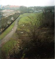The southern approach to Kirkintilloch station from the Forth and Clyde Canals Luggie Aquaduct. The former foundries are to either side (bridge to left and shed to right). The station was top right.<br><br>[Ewan Crawford&nbsp;//]