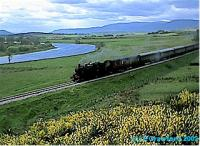 The first train in 37 years heads to Broomhill from Boat of Garten on the opening day of the line.<br><br>[Ewan Crawford&nbsp;31/05/2002]