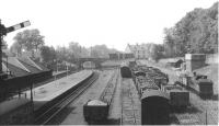 View west over Alloa station in June 1963. A DMU waits at the platform while Dunfermline shed's J36 0-6-0 no 65338 stands in the sidings to the north.<br><br>[John Robin&nbsp;07/06/1963]