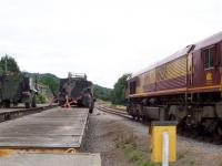 Army vehicle hangs precariously at Redmire ... July 2005.<br><br>[Mick Golightly&nbsp;26/7/2005]