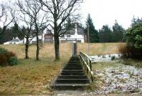 The stairway from the platform to Victoria Lodge itself in February 2006. Around the halfway mark the path crosses the trackbed of the line that once climbed from Victoria Lodge platform to the top of the dam [see image 6635]. <br><br>[John Furnevel&nbsp;01/02/2006]