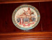 Plaque above the main door to the boardroom at Victoria Lodge. February 2006. <br><br>[John Furnevel&nbsp;01/02/2006]