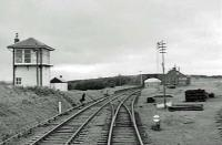 Shaky view from guards van of goods train to Catrine passing through Tarbolton in September 1963.<br><br>[John Robin&nbsp;30/09/1963]