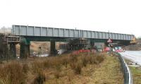Harthope Viaduct from the south on 12 February 2006, with the new deck having been hoisted alongside the old one and placed on three temporary supports.<br><br>[John Furnevel&nbsp;/02/2006]