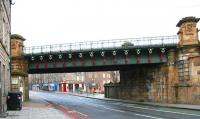 Looking west at the Caledonian Railway bridge crossing Gorgie Road, quarter of a mile southwest of Haymarket East Junction, in February 2006 following an impressive bit of repainting.<br><br>[John Furnevel&nbsp;19/02/2006]