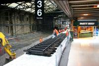 Preparations for the Edinburgh pasty festival perhaps?  No - engineering works on the north side of Waverley - looking east along platforms 1 & 19 on 26 February 2006. <br><br>[John Furnevel&nbsp;26/02/2006]