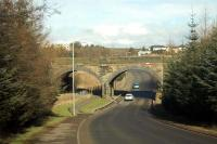 Caldercruix viaduct to the east of the former station. Note artwork on bridge. Looking north.<br><br>[Ewan Crawford&nbsp;//]