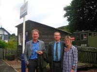 Platform scene at Rogart during a break in the making of BBC2's popular TV series <I>Great British Railway Journeys</I>. Michael Portillo is standing alongside Frank and Kate Roach.<br><br>[John Yellowlees Collection&nbsp;/09/2012]