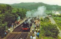 Black 5,44767, with crowd of admirers waits to pass up train at Arisaig.<br><br>[John Robin&nbsp;//]