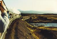 2005 heads onto the moor after leaving Rannoch Station.<br><br>[John Robin&nbsp;14/11/1987]