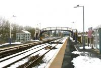 View south along platform 1 at a deserted Kirkconnel station on a snowy morning in March 2006.<br><br>[John Furnevel&nbsp;29/03/2006]