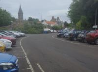 The site of St Andrews Station is now a carpark below the bus station. This is the view from the former Leuchars end of the station.<br><br>[John Yellowlees&nbsp;16/06/2017]