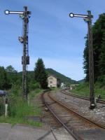 Semaphore signals and the original station building survive at<br> Fridingen on the Tuttlingen-Sigmaringen line in Baden-Wuerttemberg, seen here on 8th June 2017.<br> <br><br>[David Spaven&nbsp;08/06/2017]