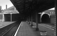 Looking towards the fading trainshed at Henley-on-Thames in 1973. A Pressed Steel <I>Bubble Car</I> can just be seen inside. [See image 43208] for the same scene forty years later. <br><br>[Bill Roberton&nbsp;//1973]