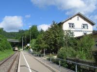 A Naturpark-Express service from Tuttlingen to Sigmaringen, operated<br> by the regional Hohenzollerische Landesbahn company, pulls into Beuron<br> station on 10th June 2017. These summer Saturday and Sunday services are<br> supported by local and regional authorities, and convey large numbers of<br> bikes free of charge along this line which parallels the popular Danube<br> cycle path.<br><br>[David Spaven&nbsp;10/06/2017]