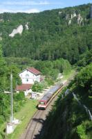 A Hohenzollerische Landesbahn Naturpark-Express service from<br> Sigmaringen to Tuttlingen departs Beuron station on 10th June. A van<br> conveying bikes is marshalled between the two single-unit railcars - each capable of hauling a 400t trailing load - which are modified versions of the NE81 units built from 1981 for 'private' (regional) operators. Why can't we have such innovative designs for rural routes in Britain?<br><br>[David Spaven&nbsp;10/06/2017]