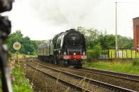 46233 Duchess of Sutherland passing Gregson Lane on 22 July 2017 while working the Crewe to Carlisle via Liverpool Cumbrian Mountain Express. The loco was working hard on the climb to Hoghton as it would do to get over several other summits on the way to Carlisle.<br><br>[John McIntyre&nbsp;22/07/2017]