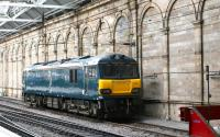 Caledonian Sleeper locomotive no 92014, sporting the attractive Serco <I>'Midnight Teal'</I> livery, seen here on 13 July 2017 stabled alongside the south wall at Waverley.<br><br>[John Furnevel&nbsp;31/07/2017]