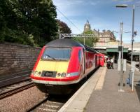 A late-running down <I>Highland Chieftain</I> clocks up more minutes' delay during an overlong call at Waverley on 14 July 2017. The plan is that cut-down HST sets with automatic doors will take over ScotRail services to Inverness at some<br> point in the future (experience shows it's best to be vague).<br> <br><br>[David Panton&nbsp;14/07/2017]
