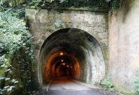 The Edinburgh end of Colinton Tunnel on the Balerno branch in July 2017. Colinton station lay just beyond the other end of the tunnel [see image 20499]. The line finally closed in 1967 and is now  part of the Water of Leith Walkway. [Ref query 1659]<br><br>[John Furnevel&nbsp;27/07/2017]
