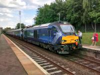 68007 <I>Valiant</I> calls at South Gyle taking commuters home to Fife on<br> 12/07/2017. I did my 14 years standing at this station, thank you very<br> much. Alas, the loco-hauled trains went the wrong way round the circle for<br> me. The pattern hasn't changed.<br> <br><br>[David Panton&nbsp;12/07/2017]