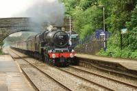 Ex LMS Jubilee no.45690 Leander passes Pleasington nearly an hour late with the return Cumbrian Mountain Express on 15 July 2017. The train was heading to the stop at Farington Jct where Leander was replaced by 86259 for the run back to Euston.<br><br>[John McIntyre&nbsp;15/07/2017]