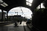 DB's ICE18 from Frankfurt to Brussels glides below Aachen station's<br> distinctive train shed at 08.15 on 13th June 2017, the first stage of the<br> photographer's journey which got him back to Edinburgh at 17.20 that day.<br> Sadly, and contrary to previous plans, ICE units (classier and more<br> comfortable than Eurostar's bland new trains - and light years ahead of<br> Virgin Pendolinos) are not expected to reach St Pancras in the foreseeable<br> future.<br> <br><br>[David Spaven&nbsp;13/06/2017]