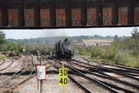 A4 60009 <I>Union of South Africa</I> seen approaching Westbury with a <I>Cathedrals Express</I> for Warminster and Salisbury via the GWR Berks and Hants on 18th July 2017.<br><br>[Peter Todd&nbsp;18/07/2017]