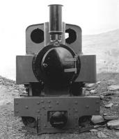 Head on view of 'Joffre' class narrow gauge 0-6-0WT+T 2442 (KS 2442/1915) at Gloddfa Ganol visitor centre, Blaenau Ffestiniog, in October 1982. The locomotive now resides on the Teifi Valley Railway at Henllan. [See image 59043]<br><br>[John Furnevel&nbsp;11/10/1982]
