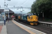37025 passing through Coatbridge Sunnyside station with the Network Rail track recording train with 37219 on the rear.(06/07/17)<br> <br><br>[Alastair McLellan 06/07/2017]