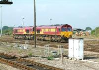 EWS class 66 locomotives stabled at Westbury in August 2002. [Ref query 1662]<br><br>[Ian Dinmore&nbsp;02/08/2002]