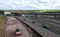 Not quite yet matching up to the artist's impression [see image 46140], the view across the M8 from the replacement Bredisholm Road bridge currently features the renovation work on the old A8 Cutty Sark bridge.<br><br>[Colin McDonald&nbsp;26/07/2017]