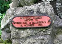 Plaque on a cairn alongside the remains of Colinton station, which might prove a little confusing to the casual visitor or passing walker. For the record, the station was opened by the Caledonian Railway on 1 August 1874 and closed to passengers on 1 November 1943. The Balerno branch closed completely in 1967 [see image 20499].  <br><br>[John Furnevel&nbsp;27/05/2017]