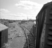 Looking back from the cab of a class 08 at the head of the branch goods leaving Greenlaw in 1965. <br><br>[Bruce McCartney&nbsp;16/07/1965]