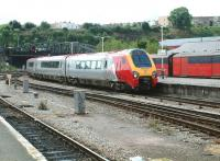 A Virgin Voyager arrives at Bristol Temple Meads from the south west on 2 August 2002 forming a Paignton - Manchester Piccadilly CrossCountry service. <br><br>[Ian Dinmore&nbsp;02/08/2002]