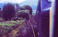 A Class 37 with an Oban to Glasgow service takes the road to Crianlarich (Upper) station on a dull and wet afternoon in August 1985. The track to the left was all that was left of the original C&O line to the Lower station.<br><br>[John McIntyre&nbsp;/08/1985]