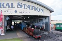 Built with the assistance of a Heritage Lottery grant, this is the impressive Central station (and associated depot) of the Rhyl Miniature Railway. 4-4-2 steam loco <I>Michael</I> is made ready for another trip on the large circuit around the marine lake. <br><br>[Mark Bartlett&nbsp;27/07/2017]