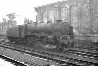 Rebuilt Royal Scot 4-6-0 no 46162 <I>Queen's Westminster Rifleman</I> stands in wait in the sidings on the west side of Carlisle station in the summer of 1963. The loocomotive is awaiting the arrival of the 2.15pm Liverpool - Glasgow Central which it will take forward to its ultimate destination. <br><br>[K A Gray&nbsp;10/08/1963]