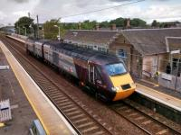 The cut-down HSTs which are scheduled to appear on ScotRail services will not, I hope, be quite this short. Cross-Country power cars head south through Prestonpans on 31 July. Obligingly they were travelling at no great speed.<br><br>[David Panton&nbsp;31/07/2017]