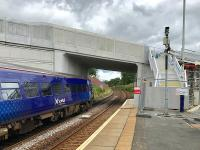A Glasgow - Edinburgh service departs from platform 2 passing under the new Station Road overbridge which is due to open to traffic in a few days time.<br><br>[Colin McDonald&nbsp;03/08/2017]