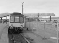 Ardrossan Winton Pier station in August 1985. This once fine station was to close when the line was cut back to the new Ardrossan Harbour station in 1986.<br><br>[Bill Roberton&nbsp;31/08/1985]
