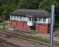 Fouldubs Junction 'box on 1 August with a catenary mast intruding on the scene.  A portent of doom for the signalbox?<br><br>[Bill Roberton&nbsp;01/08/2017]