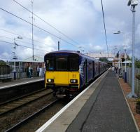 A terminating service from Dalmuir at Whifflet on 5 August. Confusingly for the uninitiated trains for Glasgow leave in both directions here. Not this one though as the driver had to explain to passengers on the platform, a touch peevishly.<br><br>[David Panton&nbsp;05/08/2017]
