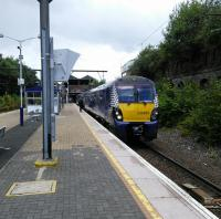 A Dalmuir to Cumbernauld service at Bellgrove on 5 August. There's not really such a place as Bellgrove; it's just the name of a Street here in Dennistoun (which might have been a more helpful name).<br><br>[David Panton&nbsp;05/08/2017]