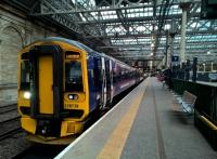 The 19.55 to Tweedbank stands at Waverley - with unofficial carry-on dining from various station food outlets.<br><br>[Ken Strachan&nbsp;04/08/2017]